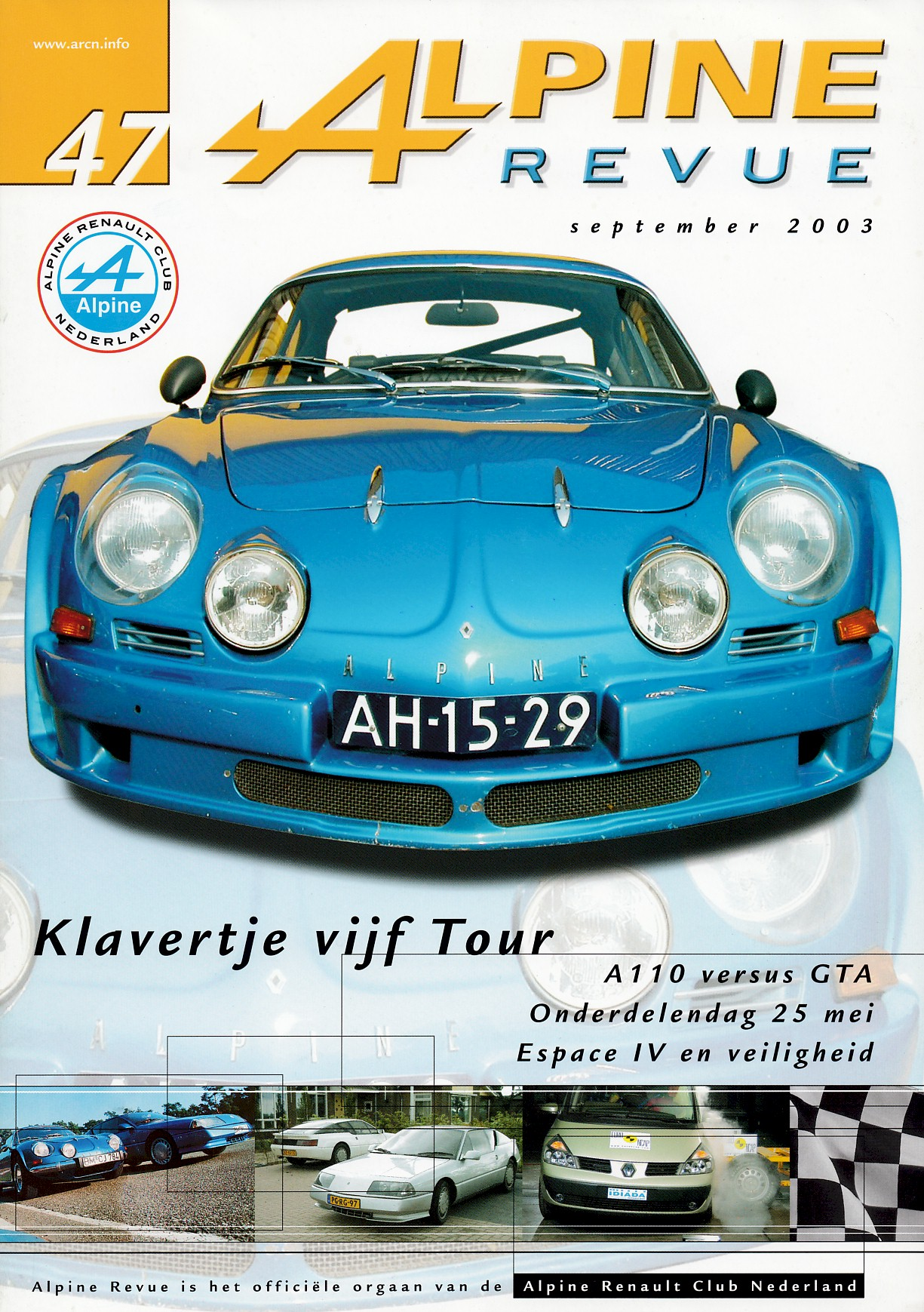REVUE, ALPINE - Clubblad van de ARCN (Alpine Renault Club Nederland), nummer-47, september 2003